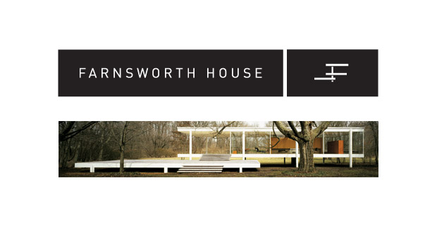Farnsworth House logo lockup over picture of the house