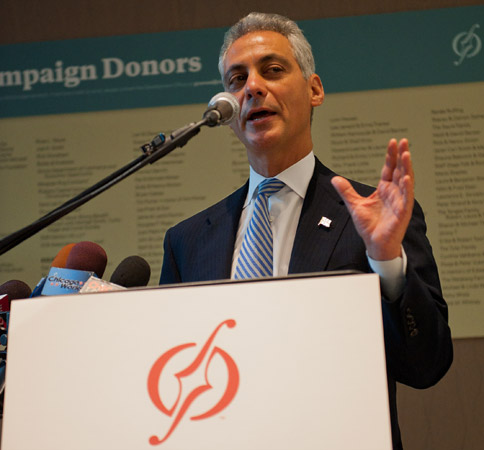 Mayor Rahm Emanuel speaking at ribbon-cutting ceremony