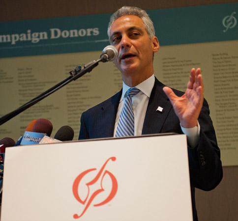 Mayor Rahm Emanuel speaking at ribbon-cutting ceremony